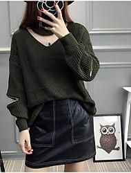Standard Cashmere Da donna-Per uscire Casual Tinta unita Rotonda Manica lunga Cotone Autunno Inverno Medio spessore Media elasticità
