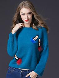 Standard Pullover Da donna-Casual Attivo Lolita Rotonda Manica lunga Lana d'angora Inverno Medio spessore Anelastico