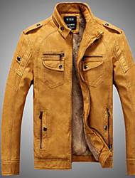 Men's Daily Simple Casual Winter Fall Leather Jacket,Solid Stand Long Sleeves Regular PU Others