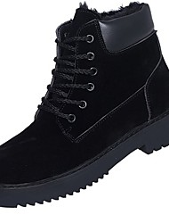 cheap -Women's Shoes PU Winter Comfort Combat Boots Fur Lining Boots Round Toe Booties/Ankle Boots for Casual Black Green