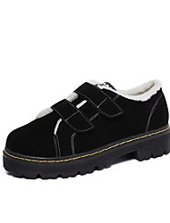 cheap -Women's Shoes PU Winter Comfort Combat Boots Oxfords Round Toe Beading For Casual Green Black