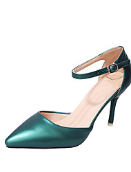 cheap -Women's Heels Basic Pump Summer PU Dress Stiletto Heel Dark Green Wine Beige Black 3in-3 3/4in