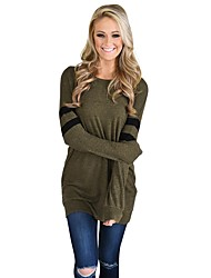 cheap -Women's Long Sleeves Hoodie & Sweatshirt - Solid Striped, Sporty Stylish