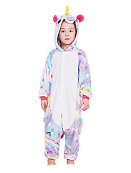 Kigurumi Pajamas Flying Horse Unicorn Onesie Pajamas Costume Flannel Fabric Pink White Blue Purple Yellow Cosplay For Kid Animal Sleepwear
