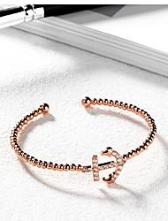 Žene Široke narukvice Umjetno drago kamenje Titanium Steel Pozlata od crvenog zlata Jewelry Za Vjenčanje Party