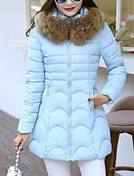Dámské Dlouhé S vycpávkou Jednoduchý Ostatní Jednobarevné-Kabát Šetrný k životnímu prostředí Polyester Dlouhý rukáv
