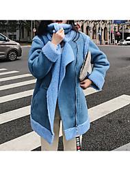 cheap -Women's Daily Casual Winter Fall Jacket,Solid Turtleneck Long Sleeve Short Lamb Fur