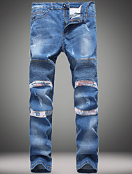 abordables -Hombre Chic de Calle Lino Chinos Vaqueros Pantalones - Un Color