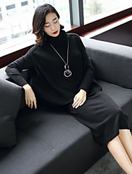 cheap -Women's Casual/Daily Work Street chic Winter Fall Set Dress Suits,Solid Turtleneck Long Sleeve Knitting Wool Nylon High Elasticity