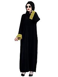 abordables -Ethnique et Religieux Robe Arabe Abaya Robe caftan Jalabiya Féminin Fête / Célébration Déguisement d'Halloween Jaune Rouge Couleur Pleine