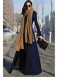 abordables -Mujer Vintage Diario Invierno Otoño Largo Abrigo, Escote Chino Un Color Otro