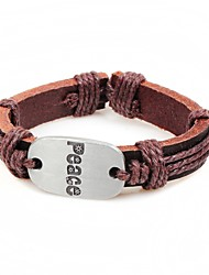 cheap -Men's Bracelet , Casual Gift Leather Alloy Peace Sign Jewelry Birthday Gift
