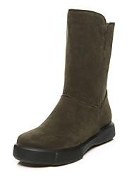 Недорогие -Для женщин Обувь Флис Зима Осень Зимние сапоги Модная обувь Ботильоны Ботинки Плоские Круглый носок Ботинки Сапоги до середины икры для
