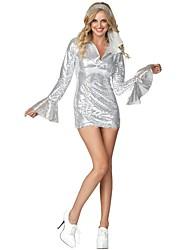 economico -Anni '70 Costume Per donna Costume Argento Vintage Cosplay Lustrini Poliestere Manica lunga Svasata Corto / mini