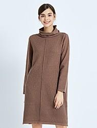 cheap -FRMZ Women's Work Vintage Loose Sweater Dress - Solid Colored Turtleneck