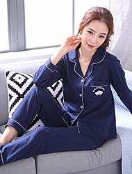 Feminino Conjunto Pijamas,Estampado Estampado Algodão Azul Real