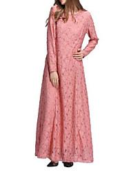baratos -Mulheres Feriado Vintage Algodão Bainha / Rendas Vestido Sólido Longo / Outono / Inverno