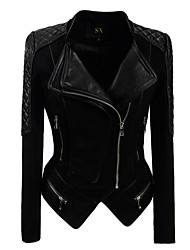 cheap -Women's Daily Vintage Fall Leather Jacket,Solid Shirt Collar Long Sleeve Short PU