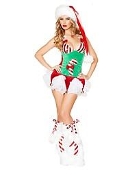 baratos -Chapéu de natal Vestido de Natal Mulheres Natal Festival / Celebração Trajes da Noite das Bruxas Verde Natal Natal