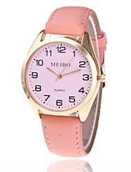 baratos -Mulheres Relógio de Moda Relógio Elegante Relógio de Pulso Chinês Quartzo Relógio Casual PU Banda Casual Preta Branco Rosa Cáqui Verde