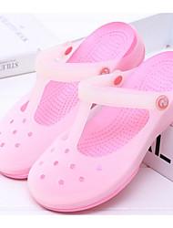 preiswerte -Damen Schuhe PVC Leder Frühling Herbst Komfort Gelee Slippers & Flip-Flops Flacher Absatz für Normal Violett Rosa Hellblau Leicht Grün