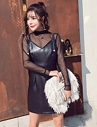 cheap -Women's Sheath Dress - Solid, Mesh