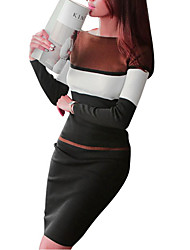 Women's Party Going out Sexy Sheath Dress,Striped Boat Neck Midi Long Sleeve Cotton Rayon Polyester Winter Fall High Waist Stretchy Thick