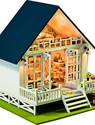 cheap -Dollhouse Light Up Toys Model Building Kit Toys Hand-made Exquisite DIY House Villa Natural Wood Romantic Pieces Unisex Birthday Gift