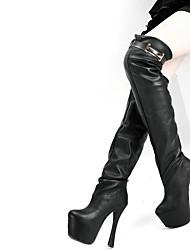 baratos -Mulheres Sapatos Couro Ecológico Outono botas de desleixo Botas Salto Agulha Dedo Apontado Carregadores coxa-alta para Casual Preto
