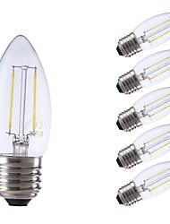 Недорогие -GMY® 6шт 2 Вт. 250/200 lm E27 LED лампы накаливания C35 2 светодиоды COB Декоративная Светодиодные фонарики Тёплый белый Холодный белый