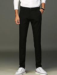 Masculino Simples Cintura Média Micro-Elástica Negócio Calças,Sólido Outono