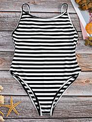 preiswerte -Damen Streifen Bikinis Bademode Schwarz