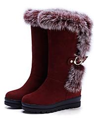 Недорогие -Жен. Обувь Нубук Осень / Зима Удобная обувь / Оригинальная обувь / Зимние сапоги Ботинки Туфли на танкетке Заостренный носок Сапоги до