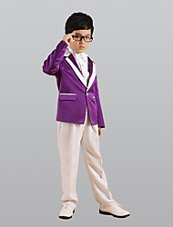 Tmavě fialová Polyester Oblek pro mládence - 6 Obsahuje Sako Kalhoty Vesta pas Motýlek Košile