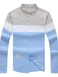 Masculino Camisa Social Casual Moda de Rua Todas as Estações,Estampa Colorida Poliéster Colarinho de Camisa Manga Comprida Opaca