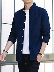 Недорогие -Для мужчин Повседневные Рубашка Рубашечный воротник,На каждый день Однотонный Длинные рукава,Хлопок