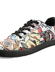 Masculino sapatos Couro Ecológico Primavera Outono Conforto Tênis para Casual Vermelho Verde Branco/Preto