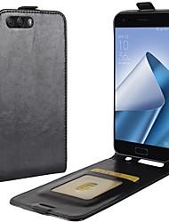 abordables -Coque Pour Asus Zenfone 4 ZE554KL Zenfone 4 MAX ZC554KL Porte Carte Clapet Coque Intégrale Couleur unie Dur faux cuir pour Asus Zenfone 4