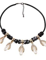 preiswerte -Damen Tropfen Klassisch Modisch Halsketten Kristall Imitierte Perlen Strass Künstliche Perle Leder Aleación Halsketten . Alltag
