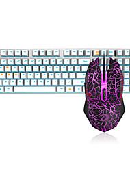 Недорогие -dareu проводная механическая клавиатура мыши черные переключатели 1,8 м семь ключей 6000 точек на дюйм