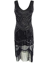 preiswerte -Great Gatsby Retro 20er Kostüm Damen Party Kostüme Flapper Kleid Cocktailkleid Schwarz Vintage Cosplay Ärmellos Kalte Schulter Knie-Länge