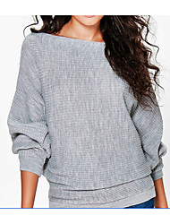 cheap -Women's Going out Long Sleeves Long Shrug - Solid Colored Boat Neck