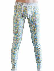 abordables -Hombre Microelástico Estampado Medio Long Johns,Algodón Poliéster 1pc Azul Piscina Gris Morado Amarillo