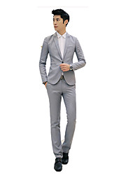 cheap -Men's Work Vintage Spring Fall Suits,Solid Shirt Collar Long Sleeve Regular Cotton
