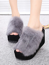 cheap -Women's Shoes Feather/ Fur Spring Fall Comfort Slippers & Flip-Flops Wedge Heel Open Toe for Casual Wine Gray Black