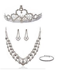 Недорогие -Жен. Ожерелья-цепочки Свадебные комплекты ювелирных изделий Стразы Искусственный бриллиант Сплав Сердце Мода европейский Свадьба Для