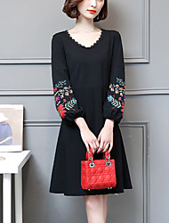 cheap -Women's Daily Going out Cute Casual A Line Little Black DressPrint Patchwork V Neck Knee-length Long Sleeve Polyester Spandex Spring Fall
