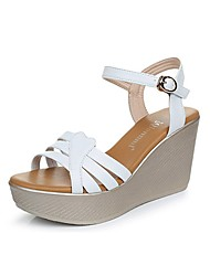 cheap -Women's Shoes PU Summer Slingback Sandals Wedge Heel Peep Toe Buckle for Dress White Black Red Green
