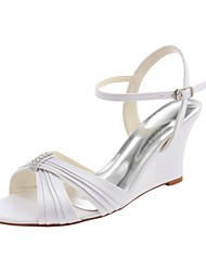 cheap -Women's Shoes Stretch Satin Summer Basic Pump Wedding Shoes Wedge Heel Open Toe Buckle / Side-Draped White / Party & Evening