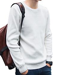 メンズ カジュアル 活発的 ストリートファッション 日常 ワーク レギュラー プルオーバー,ソリッド ラウンドネック 長袖 ポリエステル 日本製コットン エラステイン 冬 秋 薄手 厚手 マイクロエラスティック